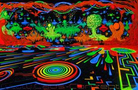 Schwarzlicht-Minigolf-Kunst